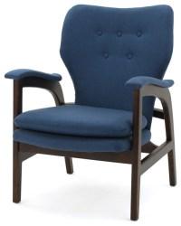 Bhelenar Dark Navy Fabric Arm Chair - Midcentury ...