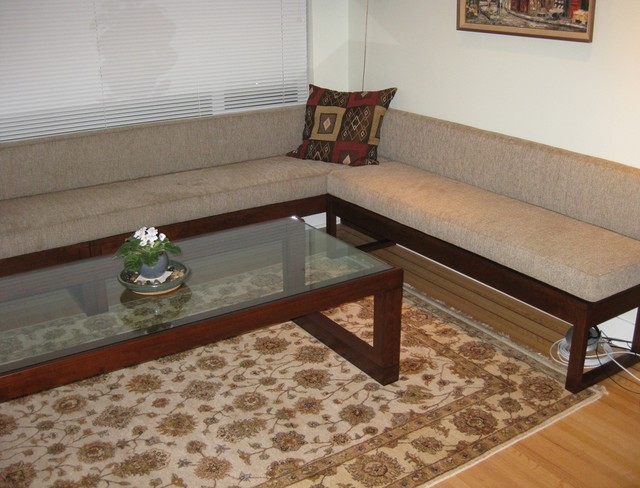 Living room bench seating and coffee table - Contemporary - Living - bench for living room