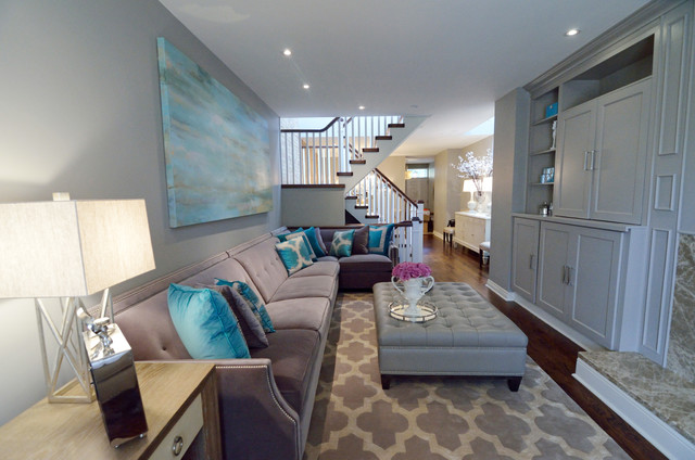 Turquoise Living Room - Transitional - Living Room - Toronto - by - grey and turquoise living room