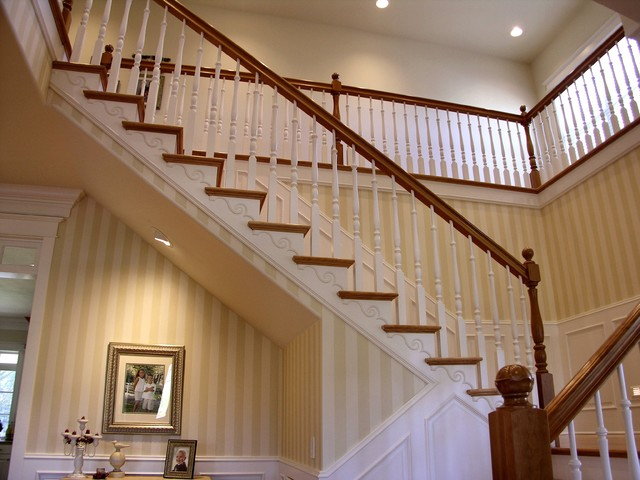 traditional stair with painted wainscoting traditional staircase portland