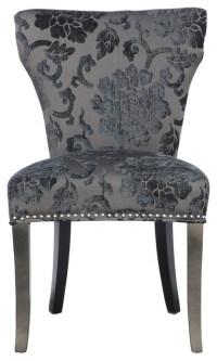 Warid Baroque Charcoal Fabric Chair (Pair) by Sherman ...