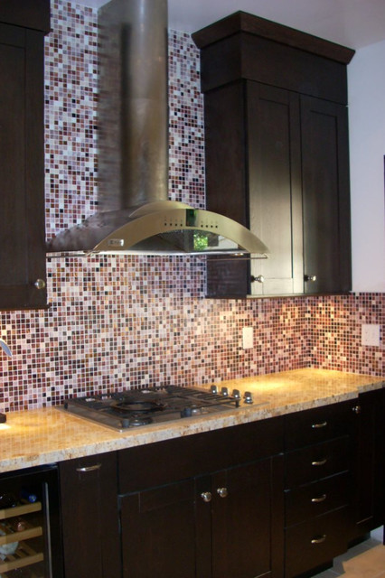 dark oak cabinets glass tile backsplash contemporary kitchen kitchen backsplash contemporary kitchen metro