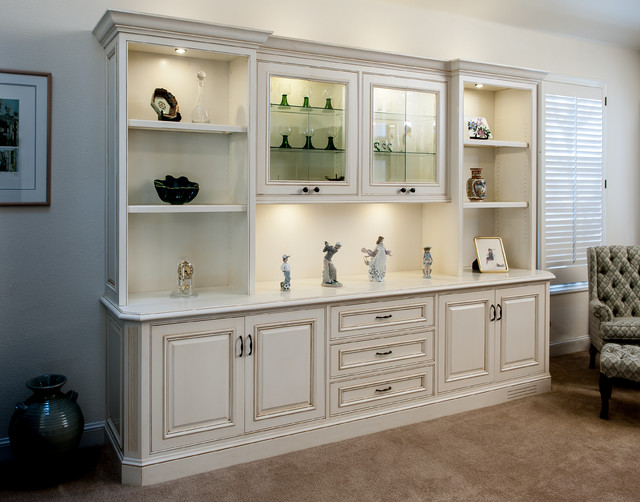 Painted and Glazed Display Cabinet - Traditional - Living Room - living room display cabinets