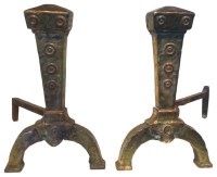 Consigned Antique Copper & Brass Andirons - Traditional ...