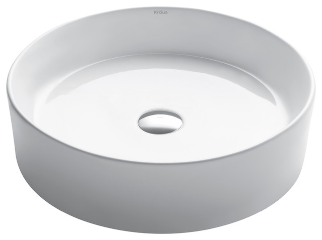 Kraus Elavo Round Vessel White Porcelain Ceramic Bathroom