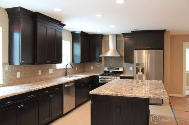 black kitchen cabinets - traditional