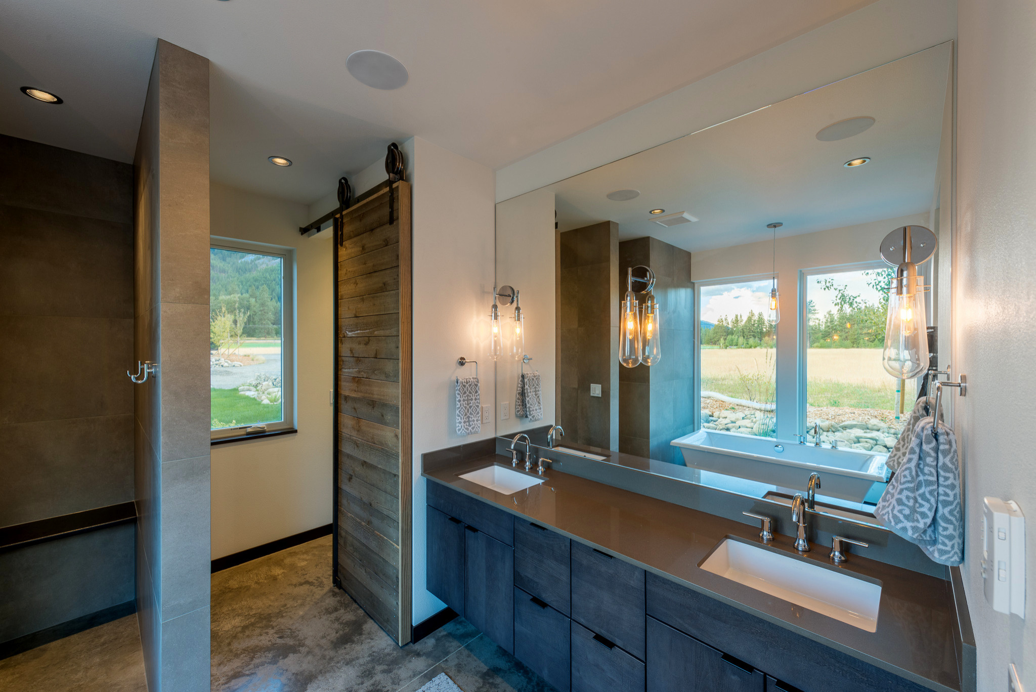 75 Beautiful Bathroom With Flat Panel Cabinets And Recycled Glass Countertops Pictures Ideas November 2020 Houzz