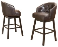 Westman Brown Leather Swivel Backed Barstool, Set of 2 ...