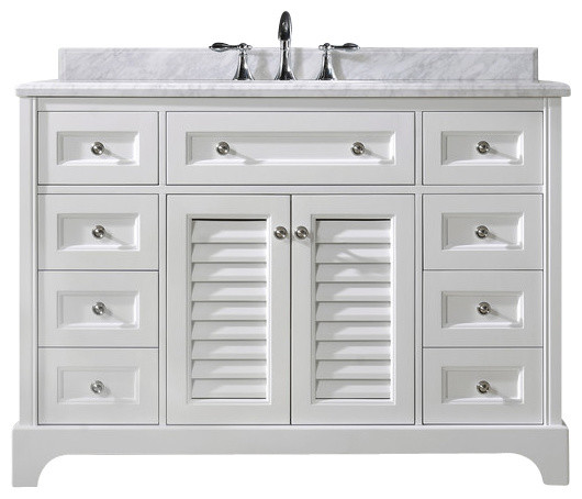 "Beach Style Bathroom Vanity Madison Bathroom Vanity, White, 48"" - Beach Style"