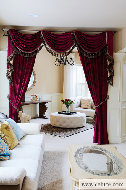 Flip Pole Swag Valance Curtains - Traditional - Living Room - swag curtains for living room