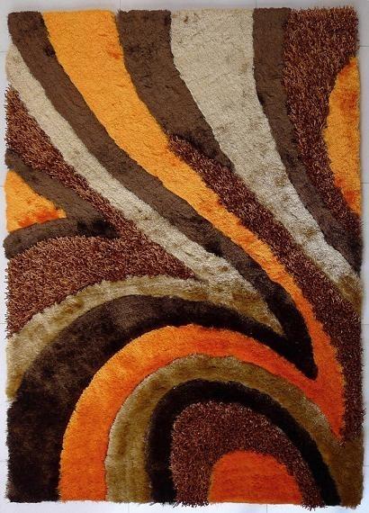5u0027x7u0027 Hand-Tufted Brown and Orange Living Room Shaggy Area Rug - orange and brown living room