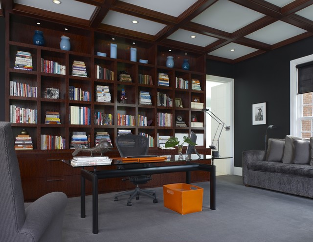 Grey Sofa Ideas Library Wall Unit - Contemporary - Home Office - Detroit