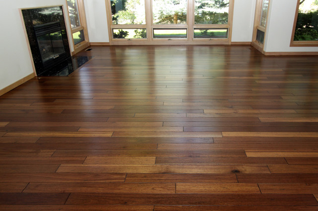 Mahogany - Hand Scraped Hardwood Floor - Contemporary - Living - living room with wood floors