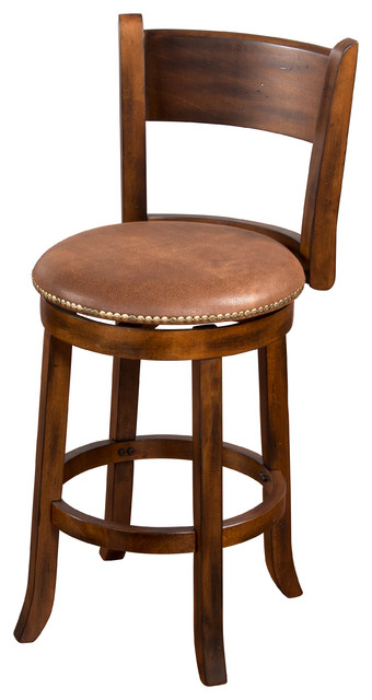 "Small Sofas Under $500 Cappuccino Swivel Stool, With Back, 24"" - Traditional"