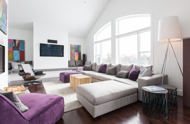 Grey And Purple Houzz - purple and grey living room