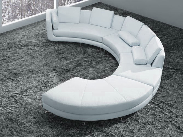 White Bonded Leather Curved Sectional Sofa Set - Modern - Living - contemporary curved sofa