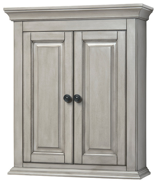 Corsicana 24 quot antique style gray wall cabinet