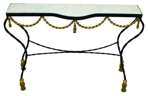 Twisted Iron Console with Marble Top by Dr Livingstone I Presume