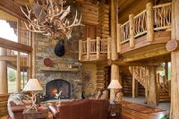 Tucker Ranch Custom Log Home - Rustic - Living Room ...