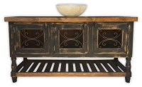 """Galata 54"""" Rustic Vanity With Wrought Iron. Vintage Black ..."""