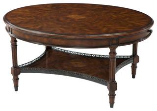 Oval Burl And Mahogany Coffee Table Traditional Coffee
