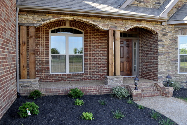 Nashville General Contractors Cedar Post And Stone Front Porch - Traditional - Porch