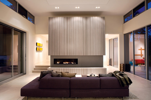 Warm and Modern Fireplace - Modern - Living Room - San Francisco - modern living rooms