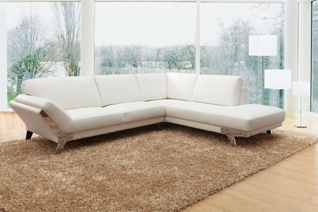 Modern White Sectional Sofa in Top Grain Italian Leather - Modern - white sectional living room