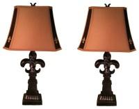 Fleur De Lis Lamp With Logo Shade Accents, Set Of 2 ...
