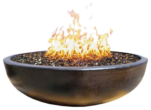 48quot Concrete Fire Pit Bowl Dark Bronze Crushed Black
