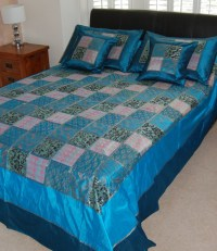 Teal Blue Indian bedspread set - Asian - Comforters And ...