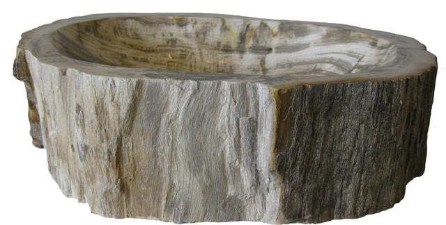 Novatto Petrified Fossil Wood Vessel Sink Irregular Shape