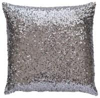 TwentyEight12 Silver Sequin Lumbar Pillow Cover ...