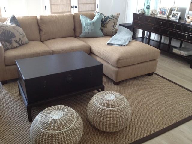 Sisal Area Rug - Brown Microfiber Binding - Traditional - Living - brown rugs for living room