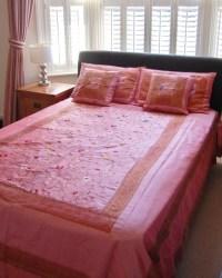 Pink Embroidered Indian bedspread set - Asian - Bedspreads ...