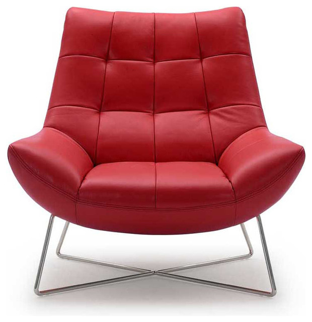 Medici Tufted Leather Accent Chair - Contemporary - Armchairs And - red living room chair