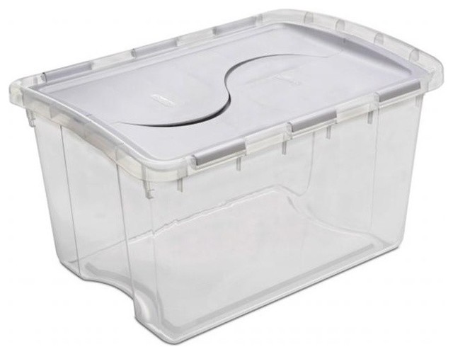 Sterilite 48 Quart Clear Hinged Lid Storage Box 19148006