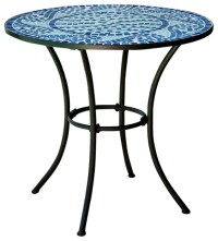 30-inch Round Metal Outdoor Bistro Patio Table with Hand ...