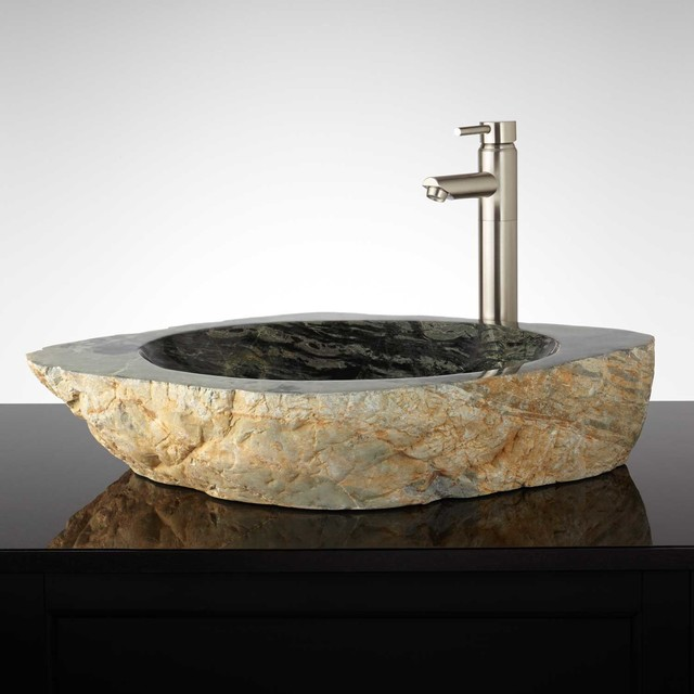 Zakuro Natural Stone Vessel Sink Traditional Bathroom
