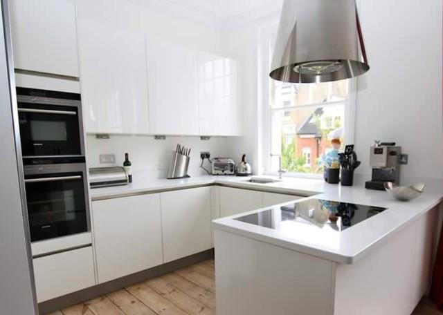 U Shaped Kitchen Layout With Peninsula Small U-Shaped kitchen with Peninsula - Modern - Kitchen - London - by LWK Kitchens London