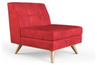 Hughes Leather Armless Chair - Brighton Parrot Red ...