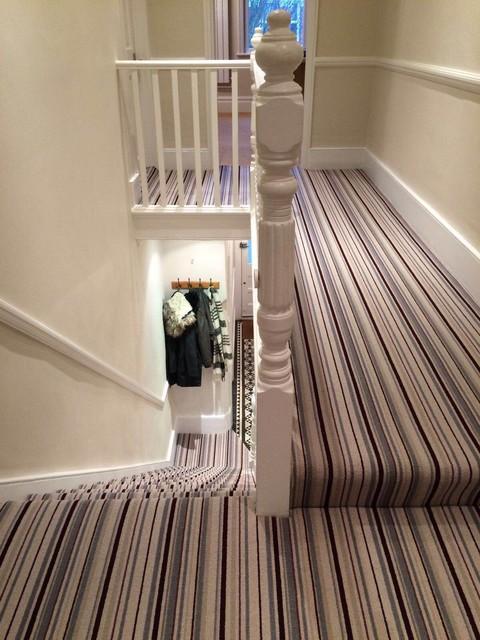 Grape Grey Stripe Stair And Hallway Carpet
