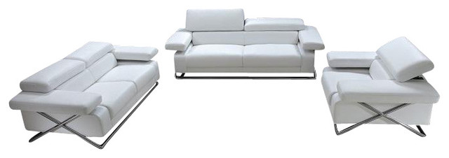 Linx White Top Grain Italian Leather 3 Piece Sofa Set With - 3 piece living room furniture set