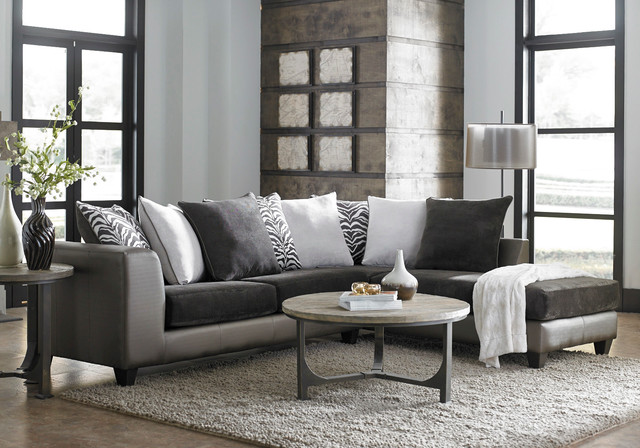 Shimmer Magnetite 2-Piece Sectional - Modern - Living Room - american freight living room sets