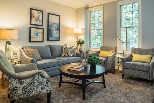 Grey, Blue and Gold - Traditional - Living Room - Chicago - by Bon - gray and gold living room