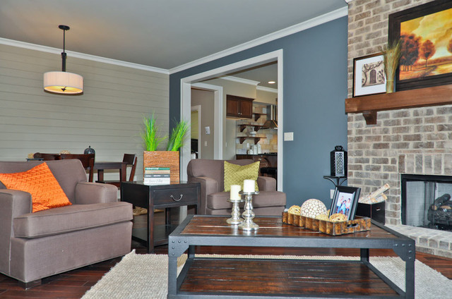 Blue Accent Wall - Transitional - Living Room - Birmingham - by - accent wall in living room
