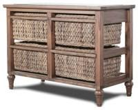 Island Breeze 4-Basket Horizontal Storage Cabinet, Natural ...