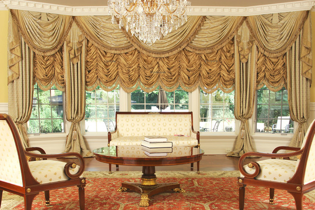 Custom and Luxury Drapery for Large Bay Window - Traditional - luxury curtains for living room