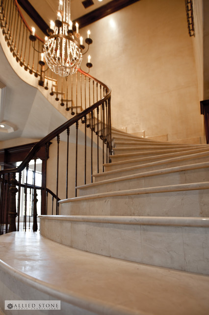 Sofas For Sale Houston Crema Marfil Marble Stairs - Mediterranean - Staircase