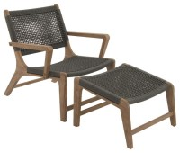 Comfortable Wood Rope Outdoor Chair With Footrest Set ...